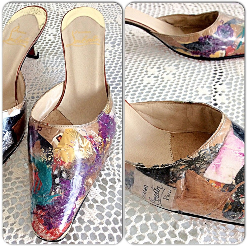 outlet store cf876 006d2 RARE Vintage Christian Louboutin Trash Mules Sz. 37.5 / 7.5 Red Bottoms /  High Heels / Kitten Heel Shoes