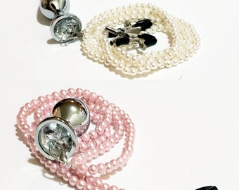 NIPPLE Clamps BUTT Plug PEARLS Adjustable Clamps Glass Pearls Mature Content Body Erotic Jewelry Anal Bondage Dildos Anal Butt Plug Clamps