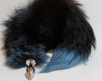 e6f1c77738a Fox Tail Butt Plug TURQUOISE SLATE BLUE Silver Fox Tail Butt Plugs Anal  Dildos bdsm Plug Tails Wolf Tail Cosplay dd lg Kitty Cat Tails
