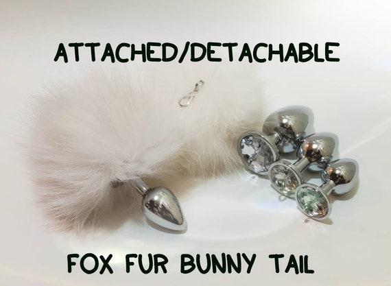 35ee6f57f29 BUNNY Tail-Fox Fur-Tail Plug-Fox Tail Butt Plug WHITE Bunny