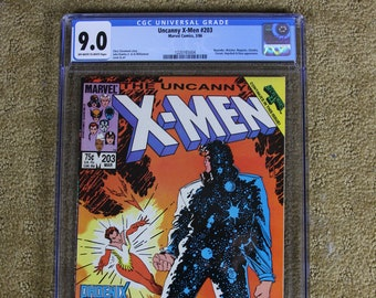 UNCANNY X-MEN #203 CGC 9.0 Xmen Newly Graded Comic Book, Featuring Beyonder, Watcher and Magneto