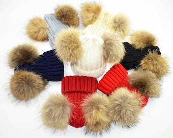 075954d0753 New Cute Mother Baby Child Winter Hat Natural Raccoon Fur Pompom Knitted Beanie  Hat for Boys Girls with Double Pompoms