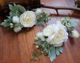 2pcs/pack Wedding Flower Hair Clip, Bridal Hair Accessory, Groom Flower Corsage with Clip and Pin