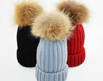 Fashion Winter Real Fur Pom Pom Hat for Baby Kids Thick Warm Beanies 5150c5fa532