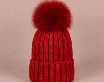 e57a8f90113 Fashion Kids Women Winter Beanie Real Fox Fur Pom Pom Hat Keep Warm  Children Hat Boys Girls