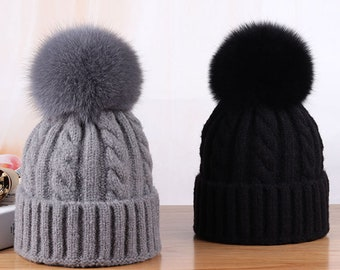 84078f3797d NEW Women Winter Hats Real Fox Fur Pompom Twist Knitted Beanie Hat for  Girls Boys Thick Warm Skiing Hats Gray Black White
