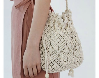 cotton crochet beige with flowers and colored beads handmade world relay lined pocket zipper handbag