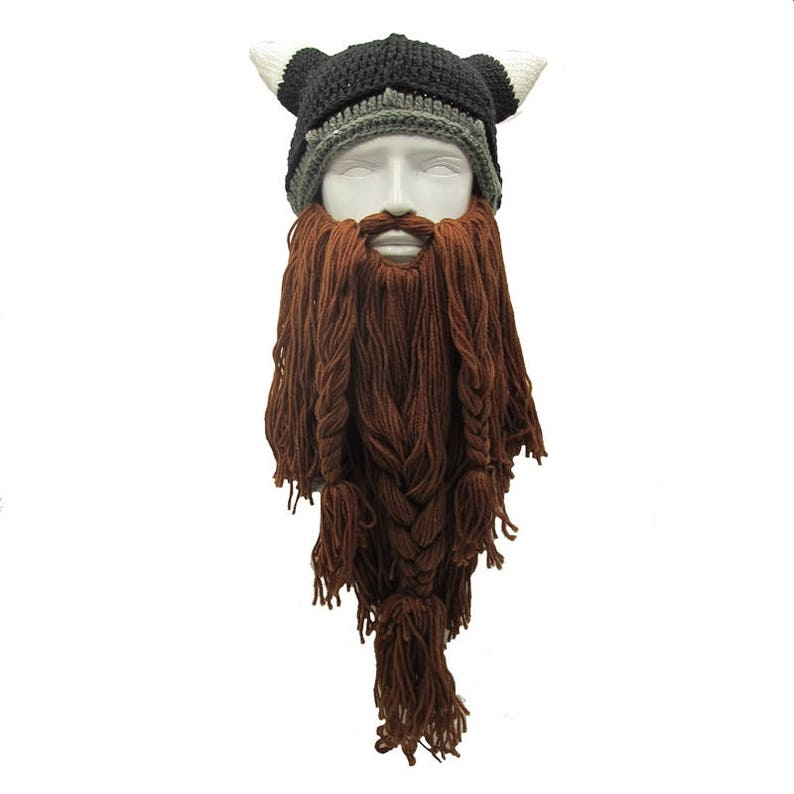 7803a655ac9 Crochet Viking Beard Hat Viking Helmet with Horns Long