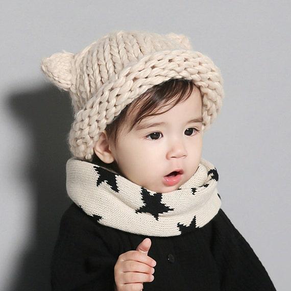 7a020dd25949c Handmade Cute Baby Girl Boy Winter Hat Cat Ears Lovely Cartoon