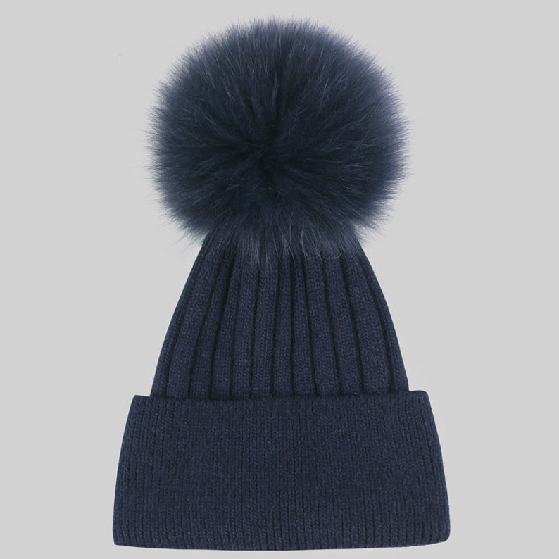 NEW Women Winter Hats Real Fox Fur Pompom Beanies for Girls  6f36de91b66