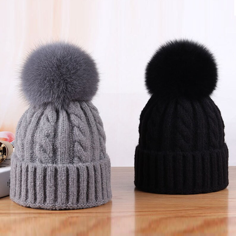eb946462832 NEW Women Winter Hats Real Fox Fur Pompom Twist Knitted Beanie