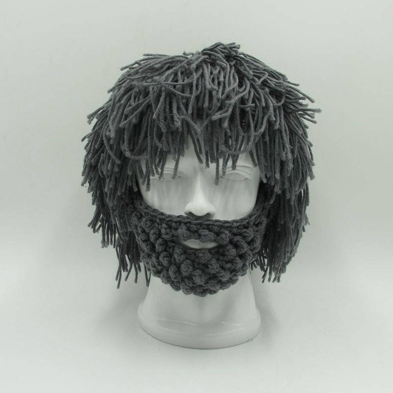 08cc1dfc533 Adult Kid Crochet Wig Beanie with Beard Wild Man Creative