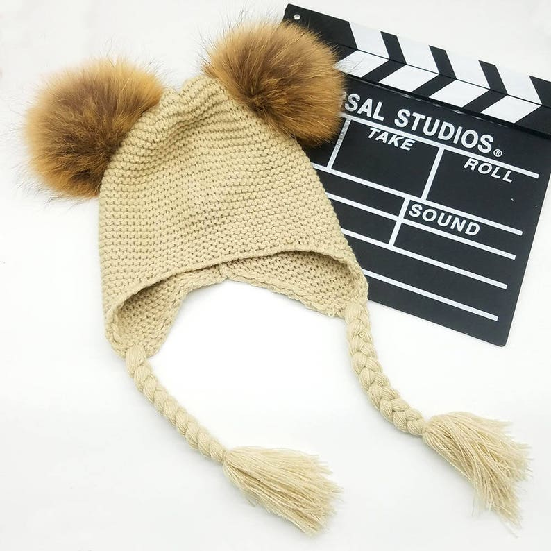 22eb029493c Baby Double Raccoon Fur Pom Poms Beanie Hat with Braids Cute Winter hat for  Girl... Baby Double Raccoon Fur Pom Poms Beanie Hat with Braids Cute Winter  hat ...