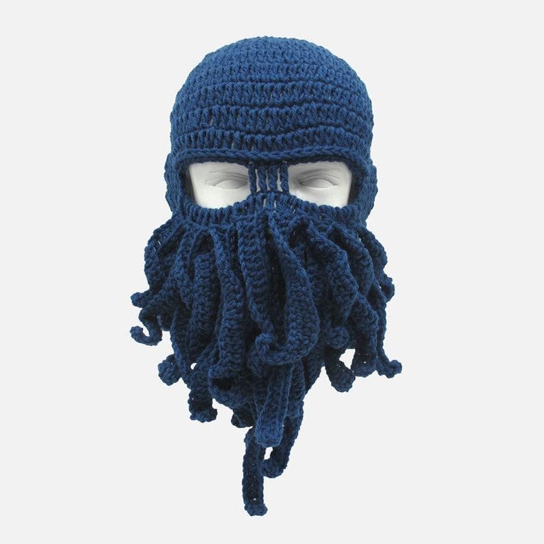 dc9d14737fa Crochet Men Women Octopus Mask Beard Hat Squid Knit Cosplay