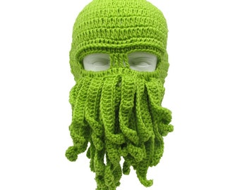 Crochet Men Women Octopus Mask Beard Hat Squid Knit Cosplay Cthulhu Beanie Ski Cap