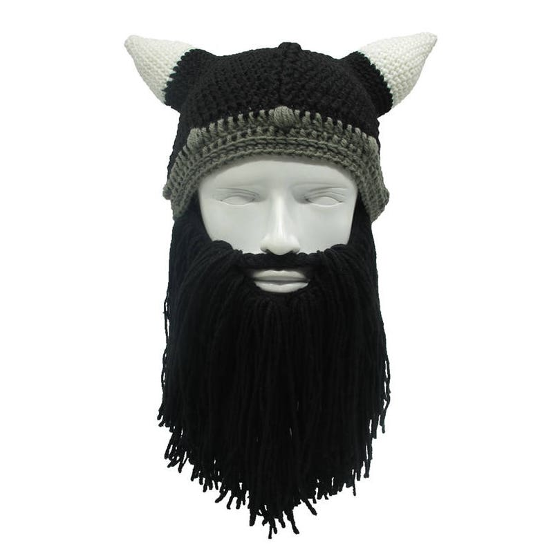 2ded0a0ab Men/Women Winter Crochet Viking Beanie Hat with Beard, Handmade Costume  Cosplay Hat Photo Prop