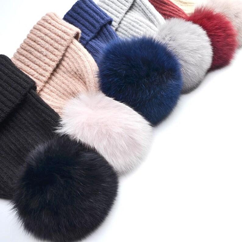 Fashion Winter Women Girls Wool Real Fox Fur Pom Pom Hat Soft Touch Beanie Hat