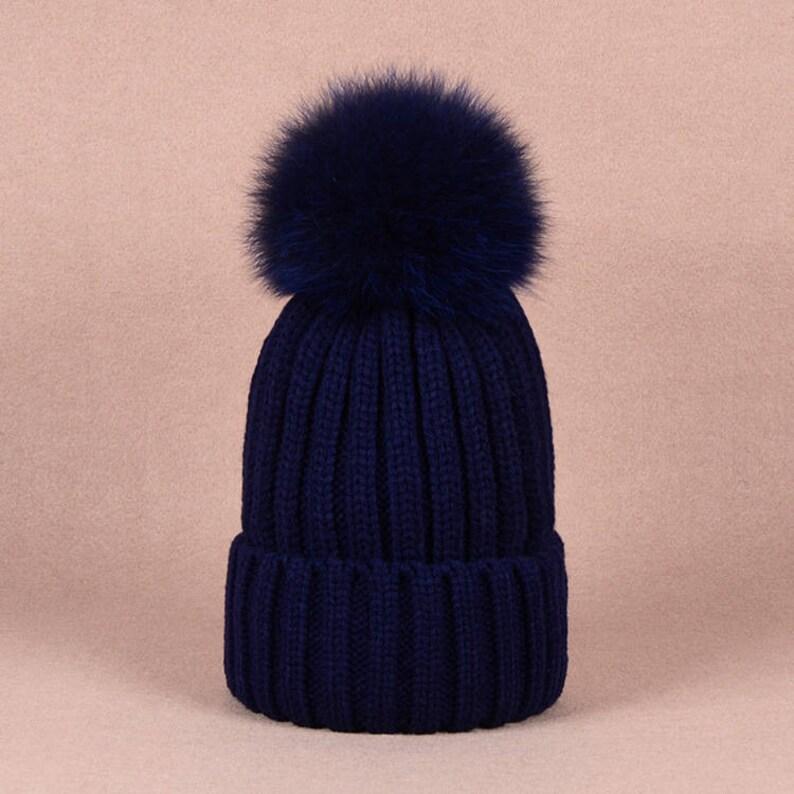 c2e651e1f9e3e Fashion Kids Women Winter Beanie Real Fox Fur Pom Pom Hat Keep