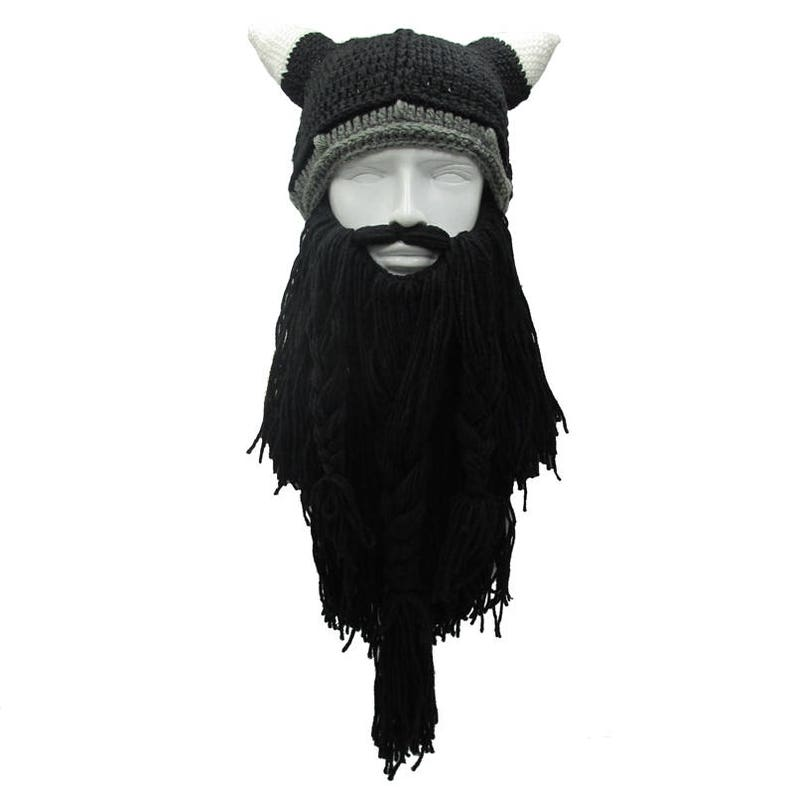 a67a8162836 Crochet Viking Beard Hat Viking Helmet with Horns Long