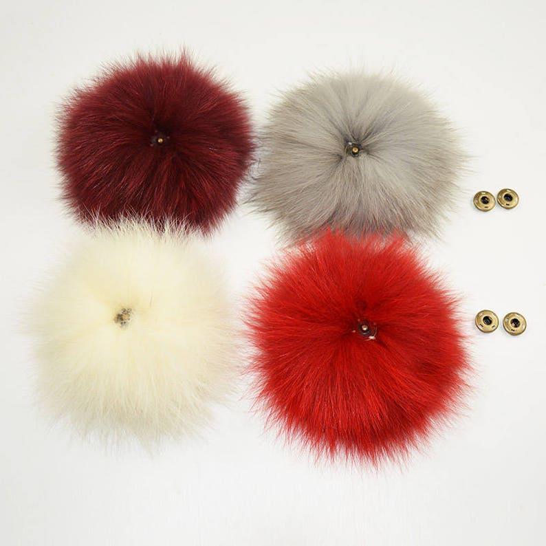 13ad01abe9b022 Detachable Big Fox Fur Pompom Genuine Fox Fur Ball for | Etsy