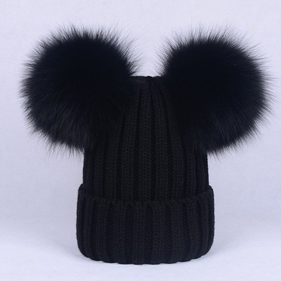 NEW Women Fox Fur Double Pom Pom Hat Knitte Beanies for Baby  ae88ca58988