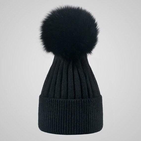 ce2dc1332c8 NEW Women Winter Hats Real Fox Fur Pompom Beanies for Girls