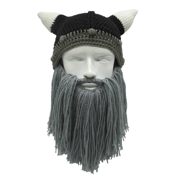 Men Women Winter Crochet Viking Beanie Hat with Beard  9014ac9507