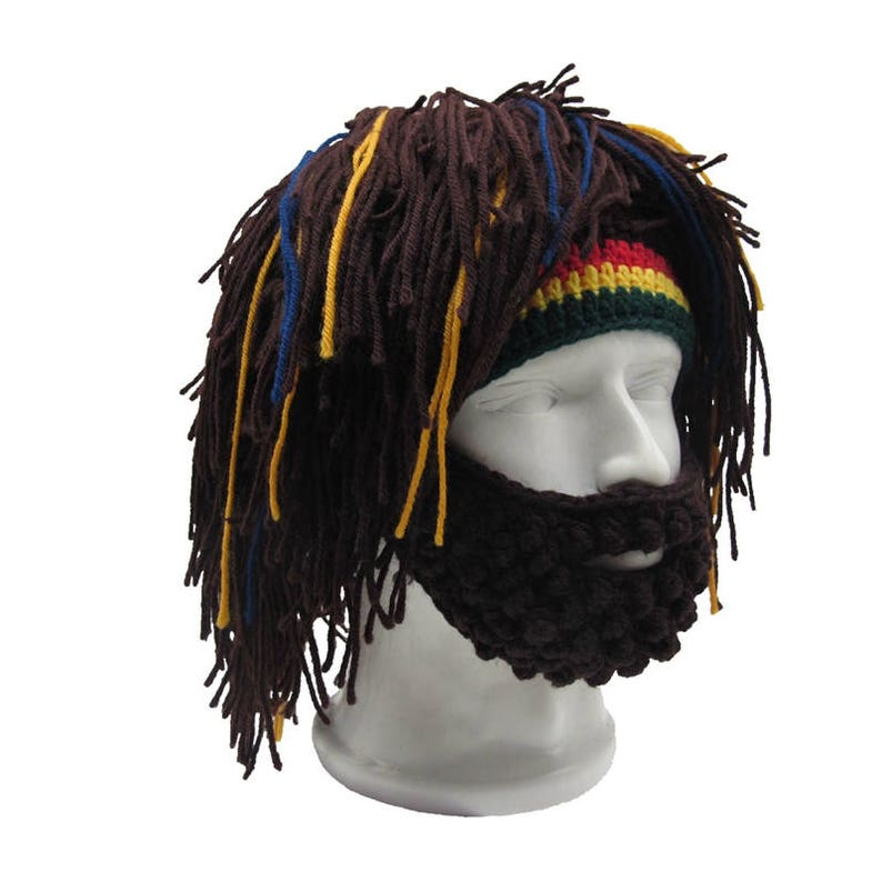 f2c19941c6cb1 Handmade Mens Rasta Hat with Beard Jamaica Beanie Knit Crochet