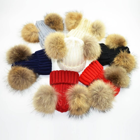 a5a0e994840 New Cute Mother Baby Child Winter Hat Natural Raccoon Fur