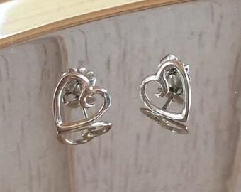Sterling Silver 925 Heart Earrings