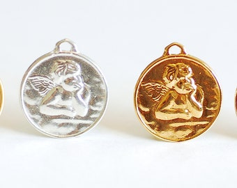 Large Angel Face Vermeil Gold Round Charm - gold disc, angelic cupid with wings pendant, circle disk, Angel Charm Pendant, Coin Charm