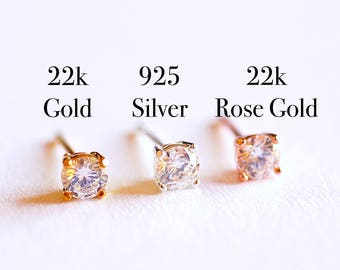925 Sterling Silver CZ Earrings, Gold, Rose Gold, cz earrings, cz studs, cz silver stud earrings, solitaire studs, solitaire earrings, Studs