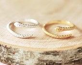 Snake Ring - Coil Snake Ring, snake jewelry, snake reptile jewelry, Serpent Ring, Sterling Silver or Gold Snake Ring, Adjustable Ring A110