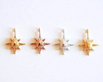 Shiny Vermeil Gold North Star Polaris Charm - 22k Gold plated over 925 Sterling Silver, , astronomy, astrology, Sun, twinkle little star