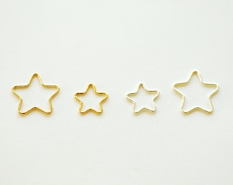 14k gold filled, 14k rose gold filled, or sterling silver Open Star Wire, Star connector link spacer, Star Jump Rings, 20 gauge wire