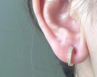 Thin Cubic Zirconia Hoop Earrings - Sterling Silver, 18k Gold and Rose Gold, huggie hoops earrings, Bridesmaid Gift, Tiny hoops, Hoops