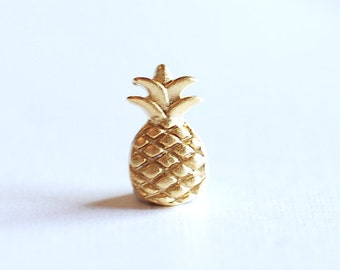 be78dffbf00 Matte Vermeil Gold Pineapple Charm Pendant- 18k gold over Sterling Silver  Pineapple