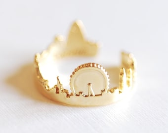 Matte Vermeil Gold London Cityscape Ring- 18k gold over Sterling Silver Skyline Ring Ring Band Great Britain Ring 279 Adjustable Ring
