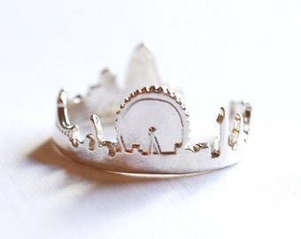 Sterling Silver London Cityscape Ring- 925 Sterling Silver Skyline Ring, Great Britain Ring, Silver Adjustable Ring, Silver Ring Band, 279