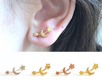 Moon and Star Earrings- Star Ear Crawlers - Moon Ear Crawlers - Stud Earrings - Minimalist Earrings - Ear Climbers - Star Earrings - Dainty