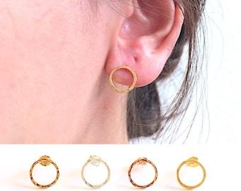 6f2bed761 Circle Stud Earrings- 925 Sterling Silver, Gold, Rose Gold, Hammered circle  stud earrings, 10mm Circle post earrings, minimalist earrings