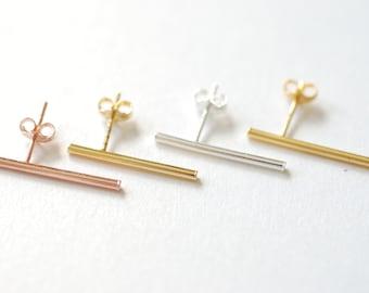 Gold Bar Earrings, rose gold bar earrings, bar earrings, Sterling silver bar earrings, minimalist earrings, bar stud earrings, Ear Climbers