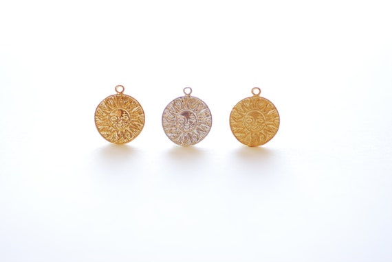 matte gold charm vermeil disc 18k gold plated sterling silver disc-believe