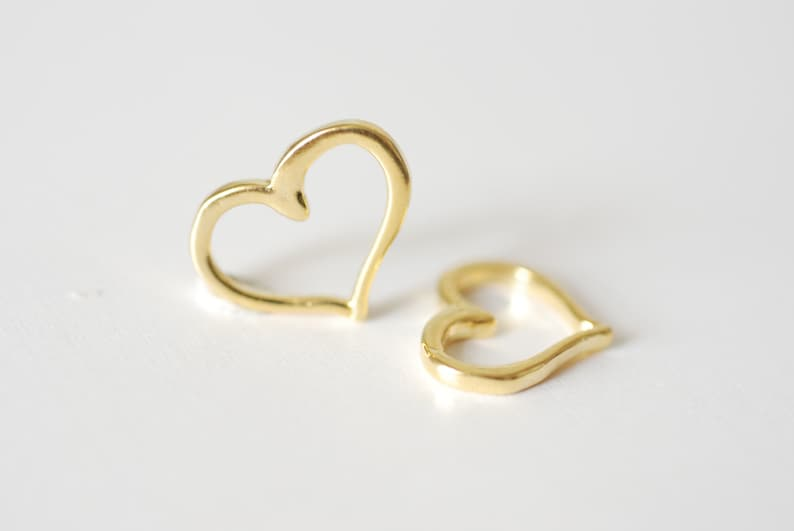 94 Vermeil Heart Charms Pendants 2pcs Shiny Vermeil Gold Open Heart Connector Charm 18k gold plated over Sterling Silver Heart Charm