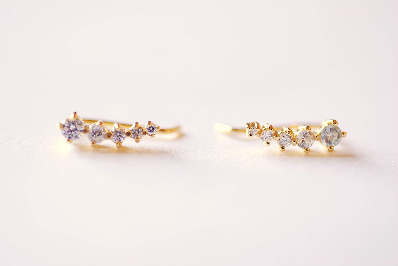 CZ Earrings Choose Sterling Silver Gold Rose Gold CZ Ear  a1b3c9f4ce