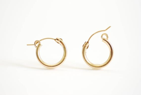 Sterling Silver Small Endless Hoop Earrings 2mm x 12mm Yellow Gold Flashed Finish