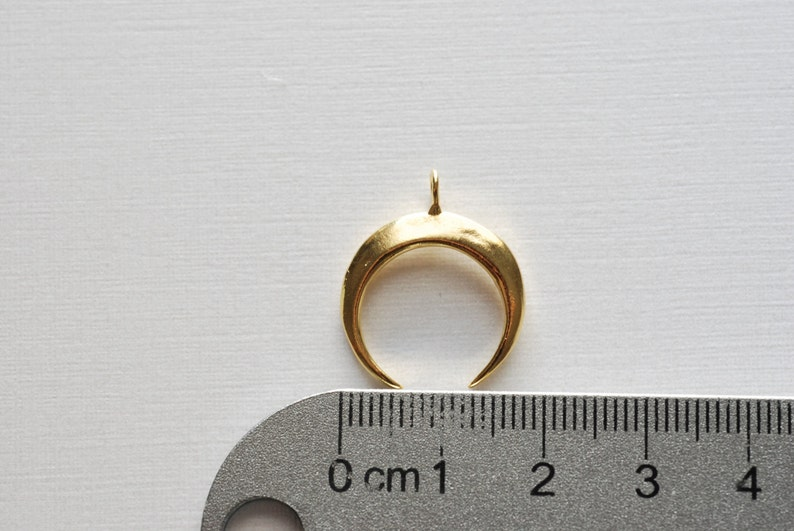 18k gold plated over sterling silver half moon charm pendant Glossy Gold Crescent Moon Gold Tusk Charm Vermeil Gold Crescent Moon Charm