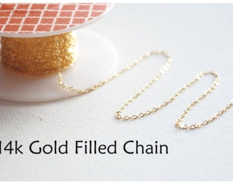 5ft 14k Gold Filled Chain, Gold Flat Chain, 1.3mm width Chain