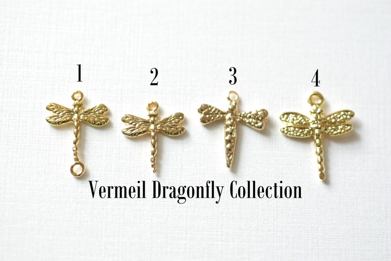 Vermeil Gold Dragonfly Charm, 18k gold plated over sterling silver Insect  Charm, Gold Wings Charm, artisan organic nature insect wholesale