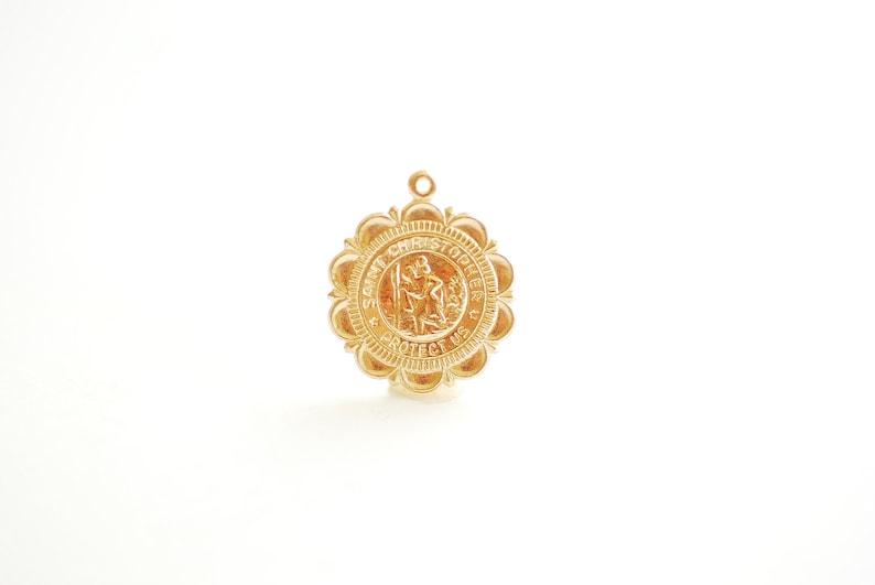 b5d855094 Saint Christopher Medallion Scalloped Edge 14k Gold Filled or | Etsy